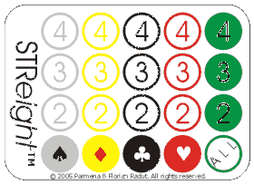STReight game board, for the 4x4 game (256 combinations)
