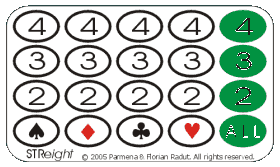 STReight game board, for four-symbol game (256 combinations)