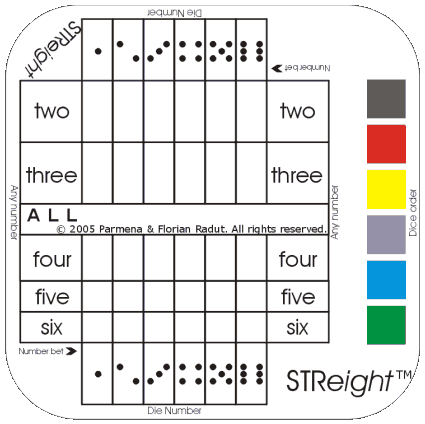 STReight game board, for six-symbol game - dice version (46,656 combinations)