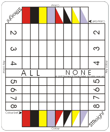 STReight game board, for 8-symbol game (16,777,216 combinations)