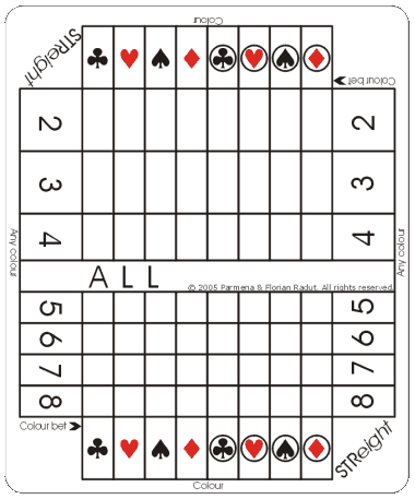 STReight game board, for eight-symbol game (16,777,216 combinations)